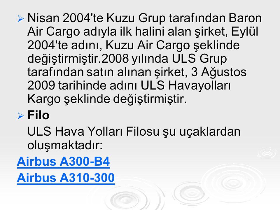 Nisan 2004 te Kuzu Grup tarafından Baron Air Cargo adıyla ilk halini alan şirket, Eylül 2004 te adını, Kuzu Air Cargo şeklinde değiştirmiştir.2008 yılında ULS Grup tarafından satın alınan şirket, 3 Ağustos 2009 tarihinde adını ULS Havayolları Kargo şeklinde değiştirmiştir.