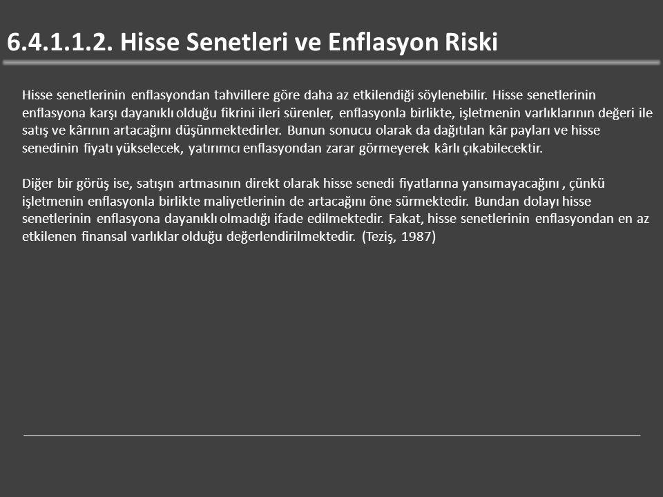 6.4.1.1.2. Hisse Senetleri ve Enflasyon Riski