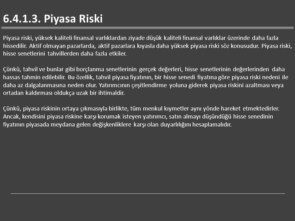 6.4.1.3. Piyasa Riski