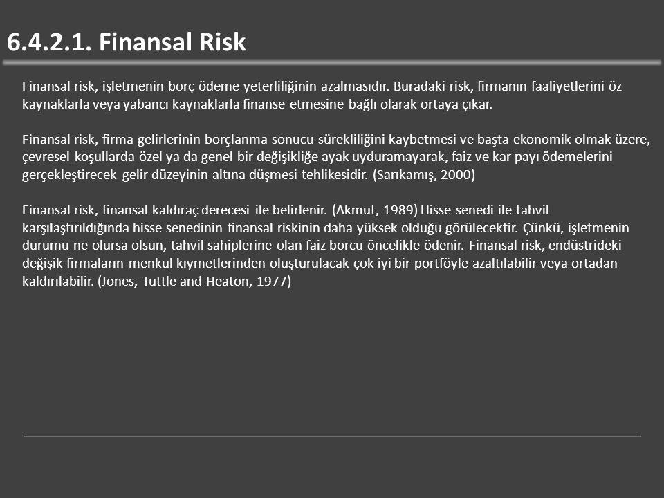 6.4.2.1. Finansal Risk