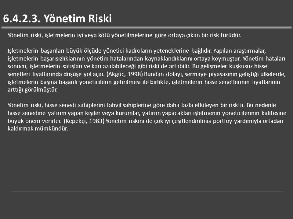 6.4.2.3. Yönetim Riski Yönetim riski, işletmelerin iyi veya kötü yönetilmelerine göre ortaya çıkan bir risk türüdür.