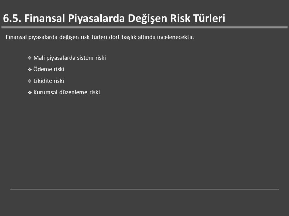 6.5. Finansal Piyasalarda Değişen Risk Türleri