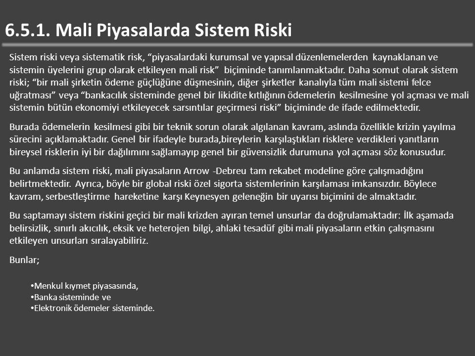 6.5.1. Mali Piyasalarda Sistem Riski