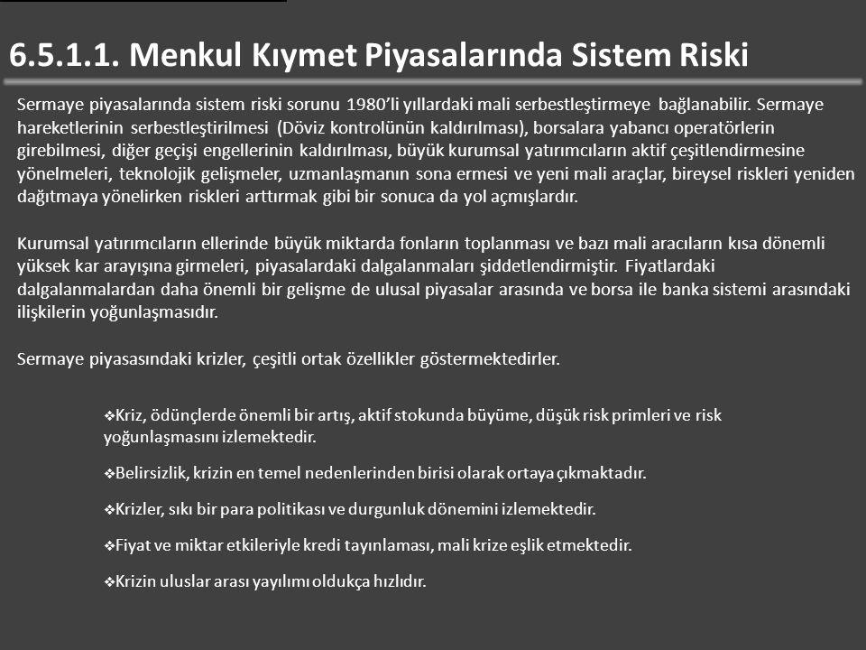 6.5.1.1. Menkul Kıymet Piyasalarında Sistem Riski