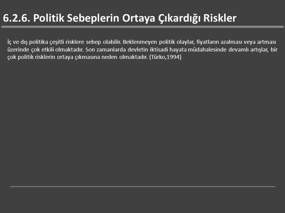 6.2.6. Politik Sebeplerin Ortaya Çıkardığı Riskler