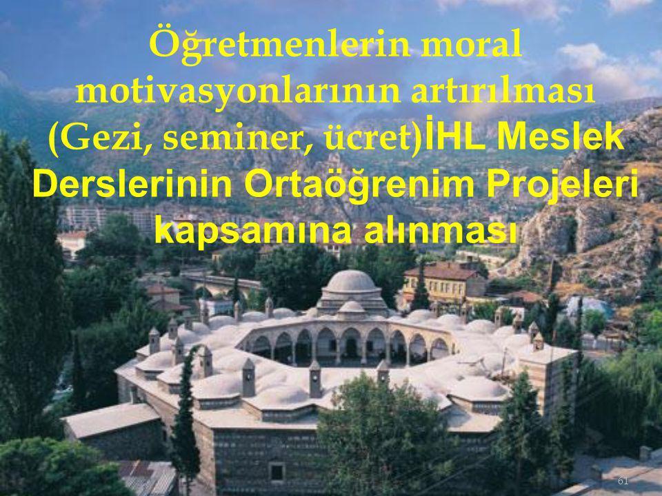 Öğretmenlerin moral motivasyonlarının artırılması (Gezi, seminer, ücret)İHL Meslek Derslerinin Ortaöğrenim Projeleri kapsamına alınması