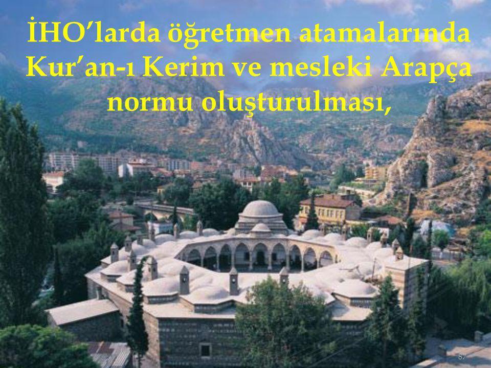 İHO'larda öğretmen atamalarında Kur'an-ı Kerim ve mesleki Arapça normu oluşturulması,