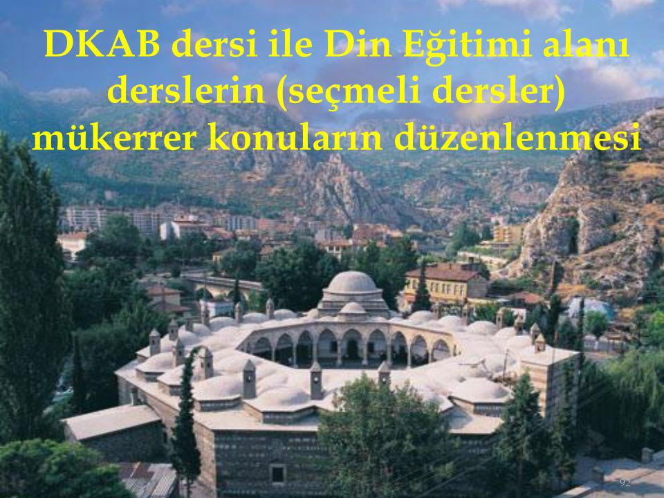 DKAB dersi ile Din Eğitimi alanı derslerin (seçmeli dersler) mükerrer konuların düzenlenmesi