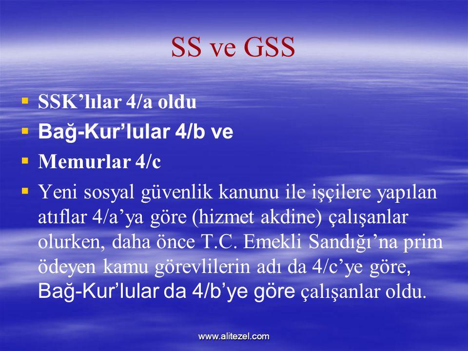 SS ve GSS SSK'lılar 4/a oldu Bağ-Kur'lular 4/b ve Memurlar 4/c