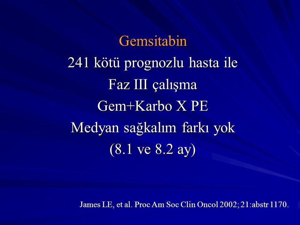 241 kötü prognozlu hasta ile Faz III çalışma Gem+Karbo X PE