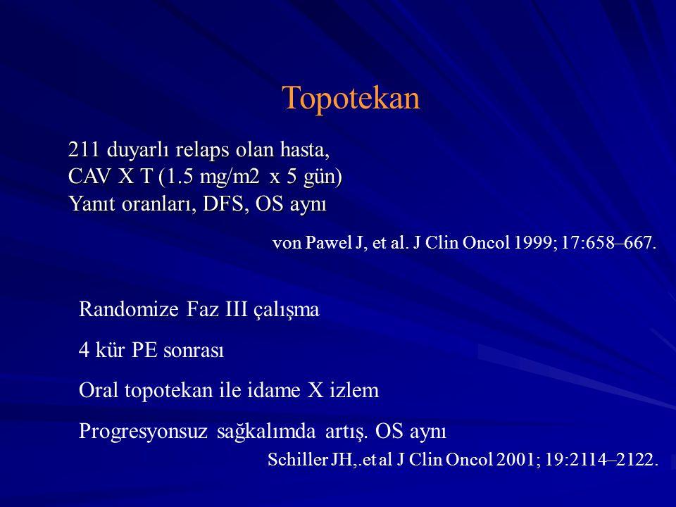 Topotekan 211 duyarlı relaps olan hasta, CAV X T (1.5 mg/m2 x 5 gün)