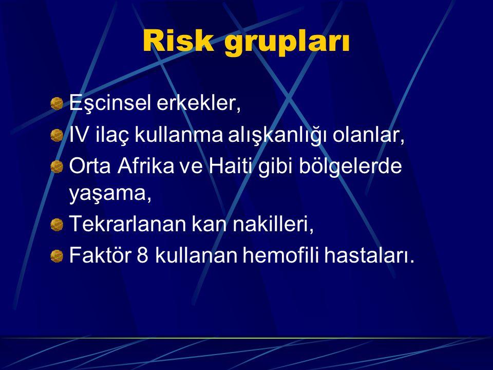 Risk grupları Eşcinsel erkekler, IV ilaç kullanma alışkanlığı olanlar,