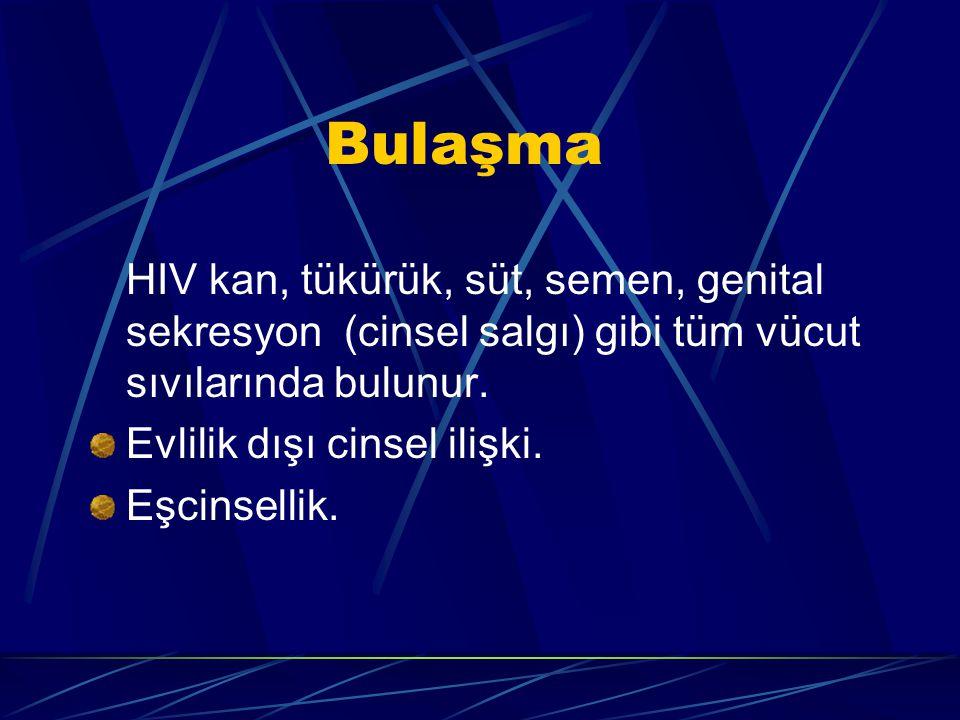 Bulaşma HIV kan, tükürük, süt, semen, genital sekresyon (cinsel salgı) gibi tüm vücut sıvılarında bulunur.