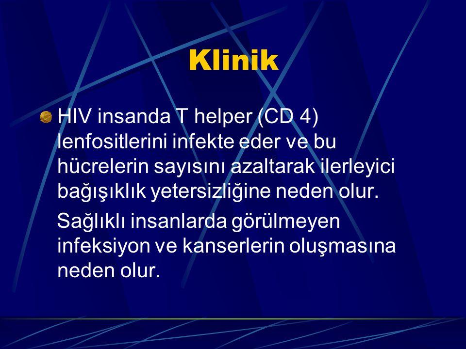 Klinik HIV insanda T helper (CD 4) lenfositlerini infekte eder ve bu hücrelerin sayısını azaltarak ilerleyici bağışıklık yetersizliğine neden olur.