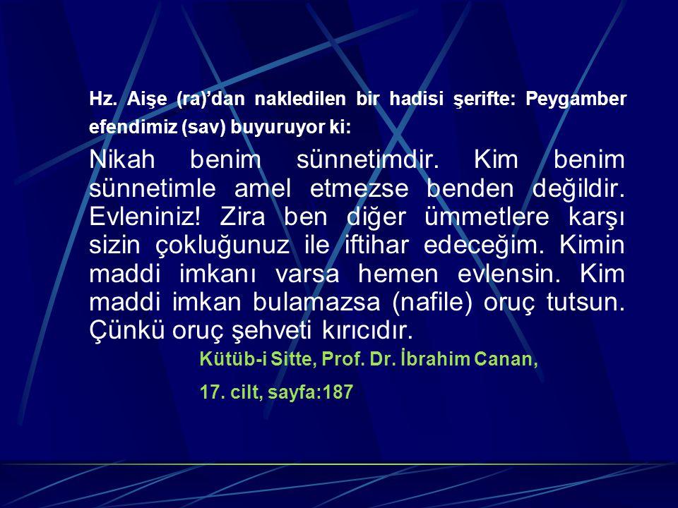 Hz. Aişe (ra)'dan nakledilen bir hadisi şerifte: Peygamber efendimiz (sav) buyuruyor ki: