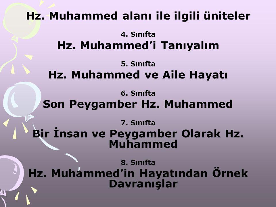 Hz. Muhammed alanı ile ilgili üniteler Son Peygamber Hz. Muhammed