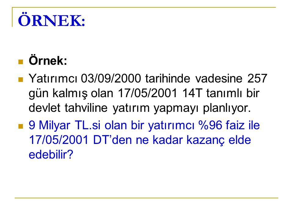 ÖRNEK: Örnek: Yatırımcı 03/09/2000 tarihinde vadesine 257 gün kalmış olan 17/05/2001 14T tanımlı bir devlet tahviline yatırım yapmayı planlıyor.