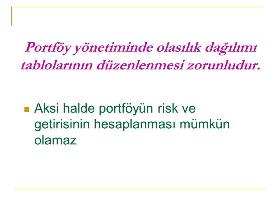 Portföy yönetiminde olasılık dağılımı tablolarının düzenlenmesi zorunludur.