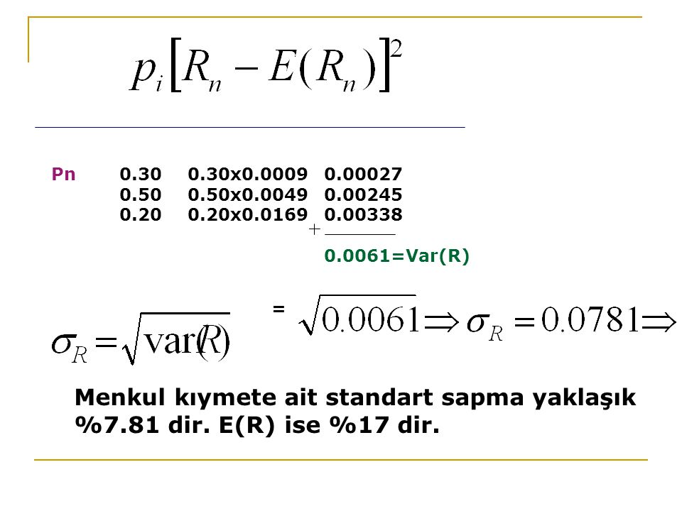 Pn 0.30 0.30x0.0009 0.00027 0.50 0.50x0.0049 0.00245. 0.20 0.20x0.0169 0.00338. 0.0061=Var(R) =