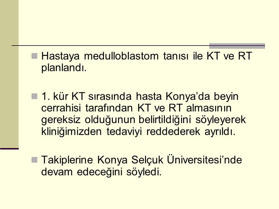 Hastaya medulloblastom tanısı ile KT ve RT planlandı.