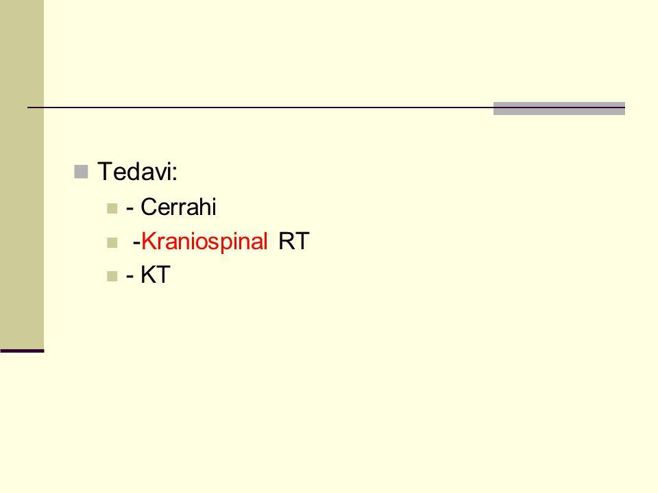 Tedavi: - Cerrahi -Kraniospinal RT - KT