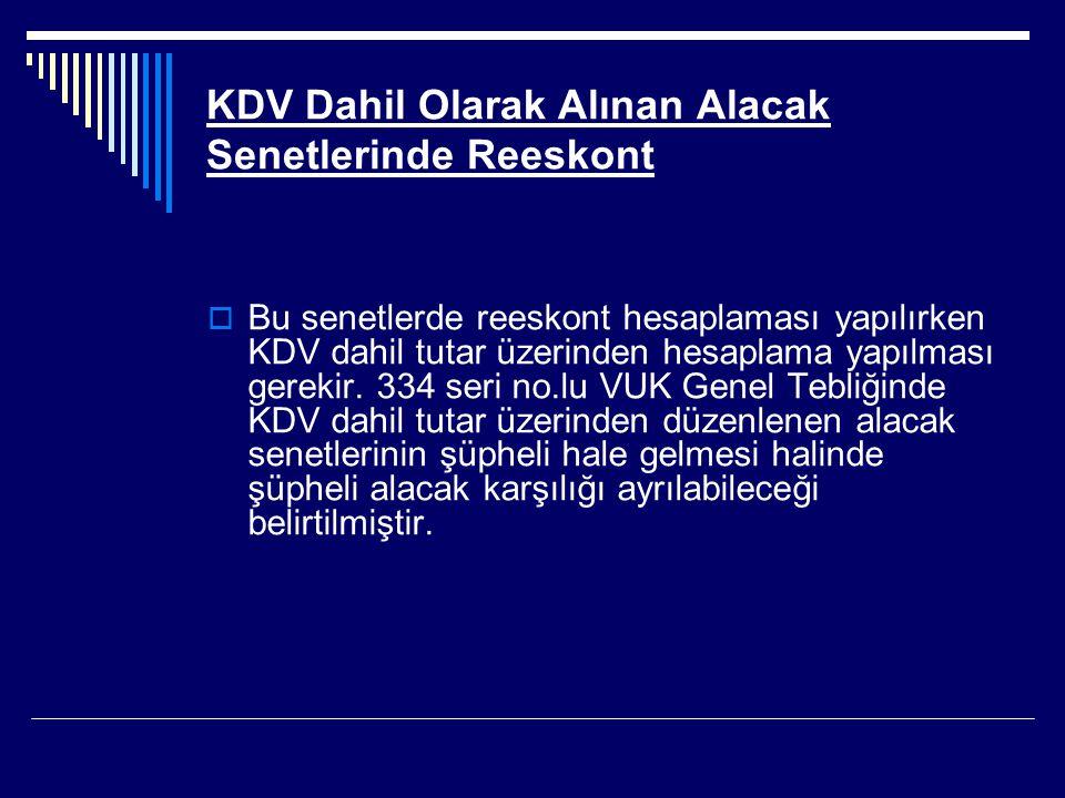 KDV Dahil Olarak Alınan Alacak Senetlerinde Reeskont