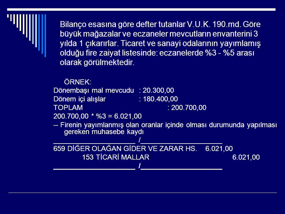 Bilanço esasına göre defter tutanlar V. U. K. 190. md