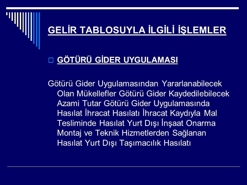 GELİR TABLOSUYLA İLGİLİ İŞLEMLER