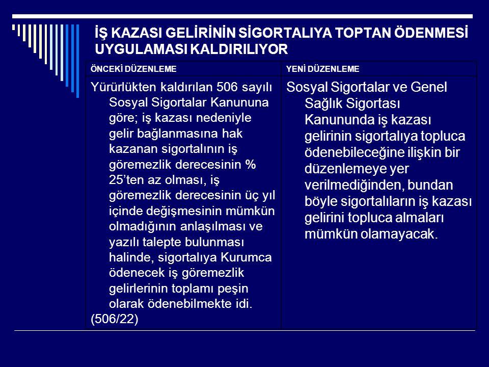 İŞ KAZASI GELİRİNİN SİGORTALIYA TOPTAN ÖDENMESİ UYGULAMASI KALDIRILIYOR