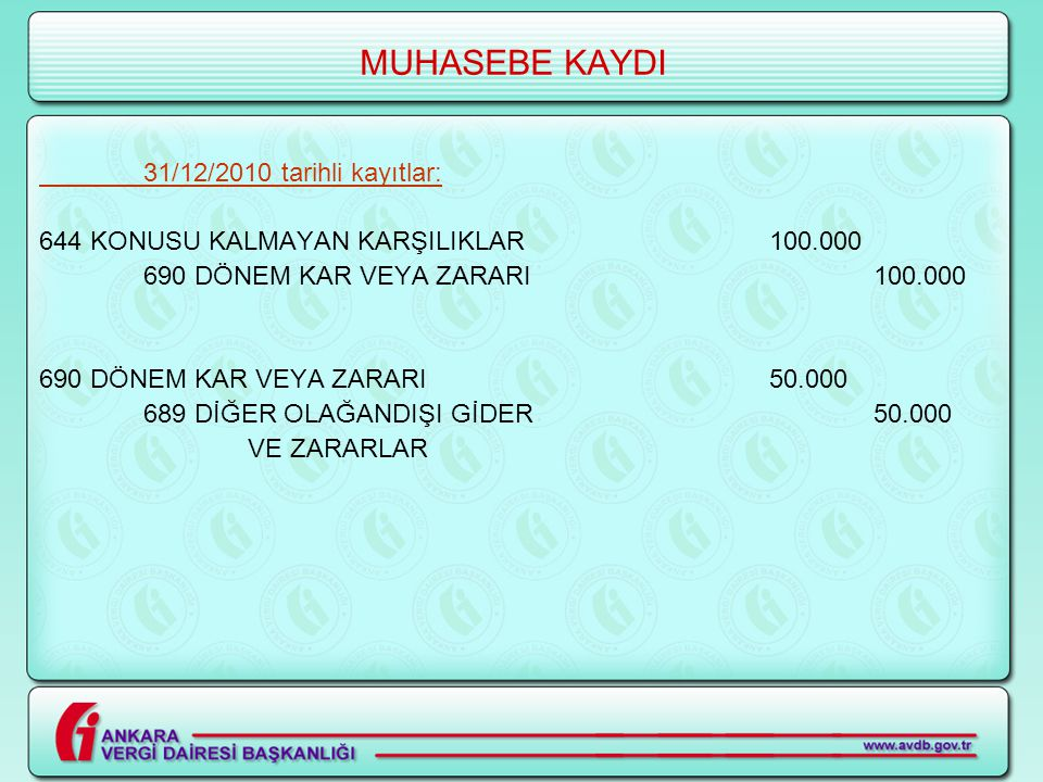 MUHASEBE KAYDI 31/12/2010 tarihli kayıtlar: