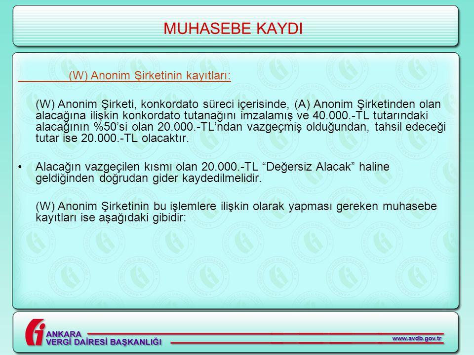 MUHASEBE KAYDI (W) Anonim Şirketinin kayıtları: