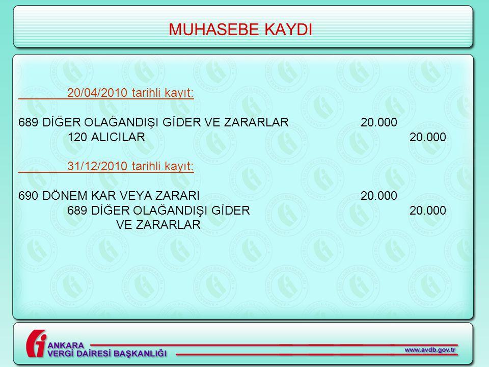 MUHASEBE KAYDI 20/04/2010 tarihli kayıt: