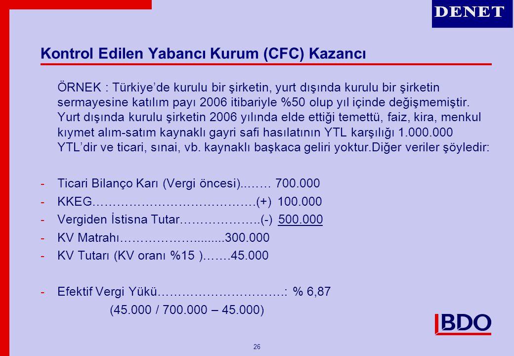 Kontrol Edilen Yabancı Kurum (CFC) Kazancı