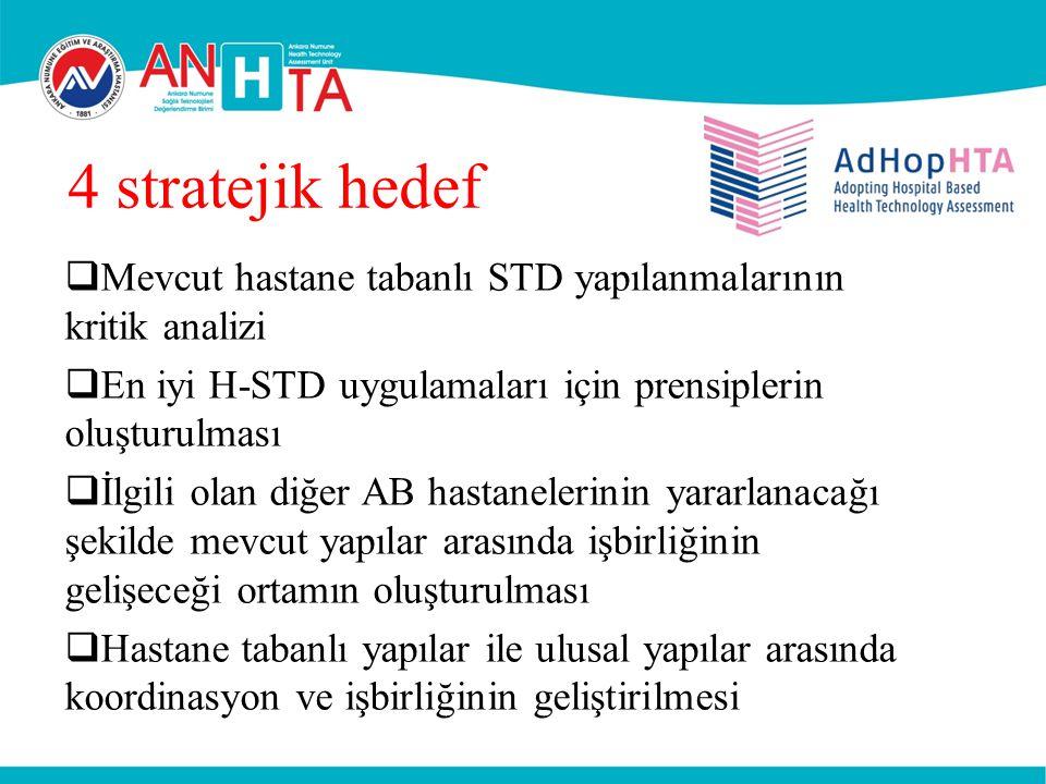 4 stratejik hedef Mevcut hastane tabanlı STD yapılanmalarının kritik analizi. En iyi H-STD uygulamaları için prensiplerin oluşturulması.