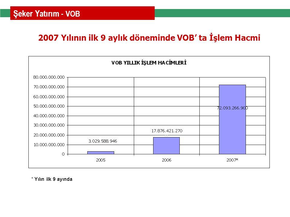 2007 Yılının ilk 9 aylık döneminde VOB' ta İşlem Hacmi