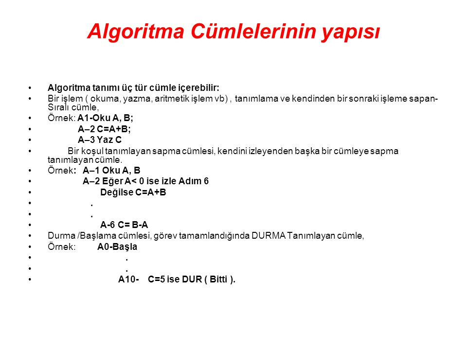 Algoritma Cümlelerinin yapısı