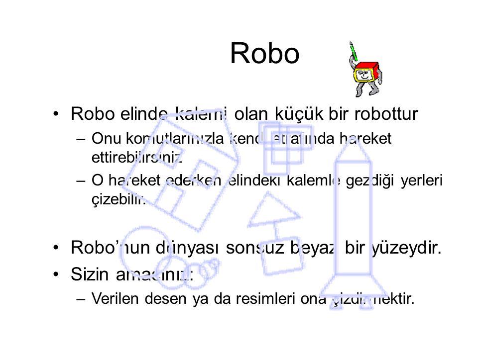 Robo Robo elinde kalemi olan küçük bir robottur
