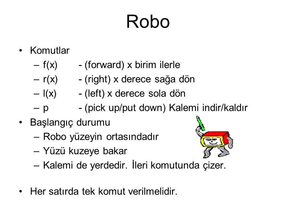 Robo Komutlar f(x) - (forward) x birim ilerle