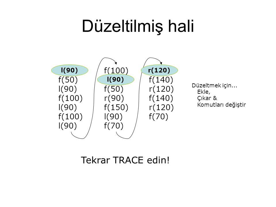 Düzeltilmiş hali Tekrar TRACE edin! r(180) f(50) l(90) f(100) l(100)