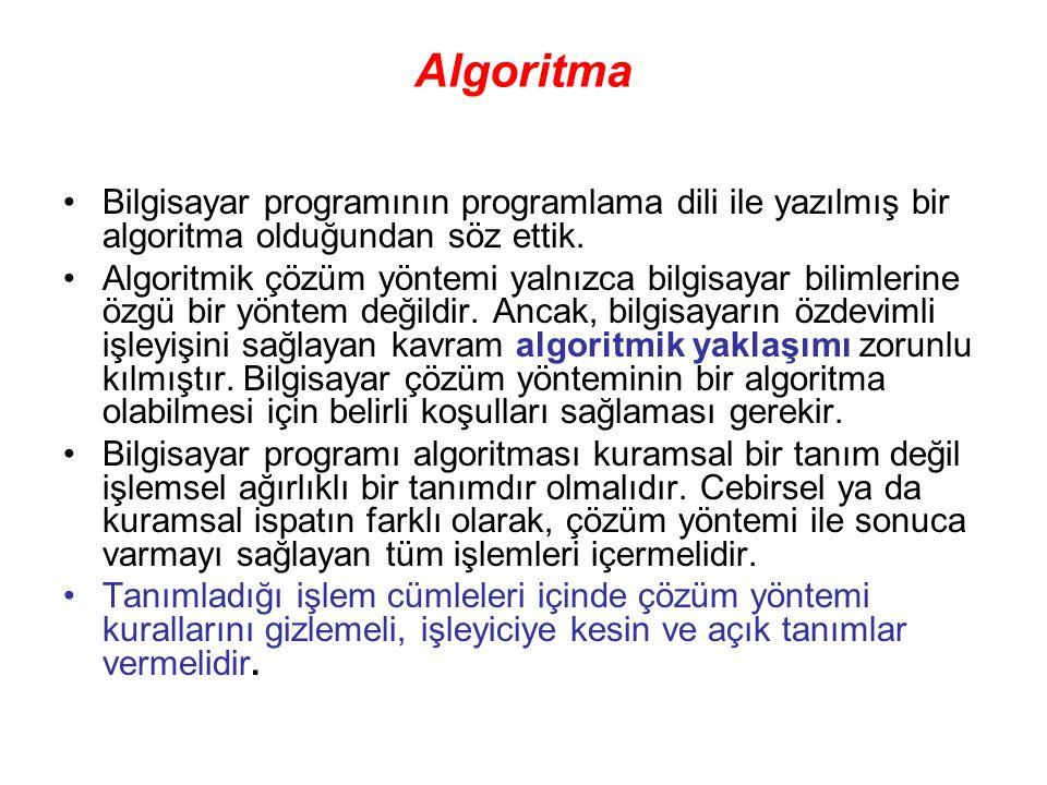 Algoritma Bilgisayar programının programlama dili ile yazılmış bir algoritma olduğundan söz ettik.
