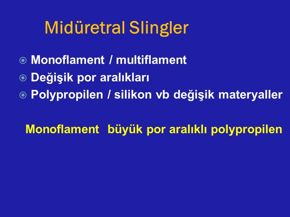 Midüretral Slingler Monoflament / multiflament Değişik por aralıkları