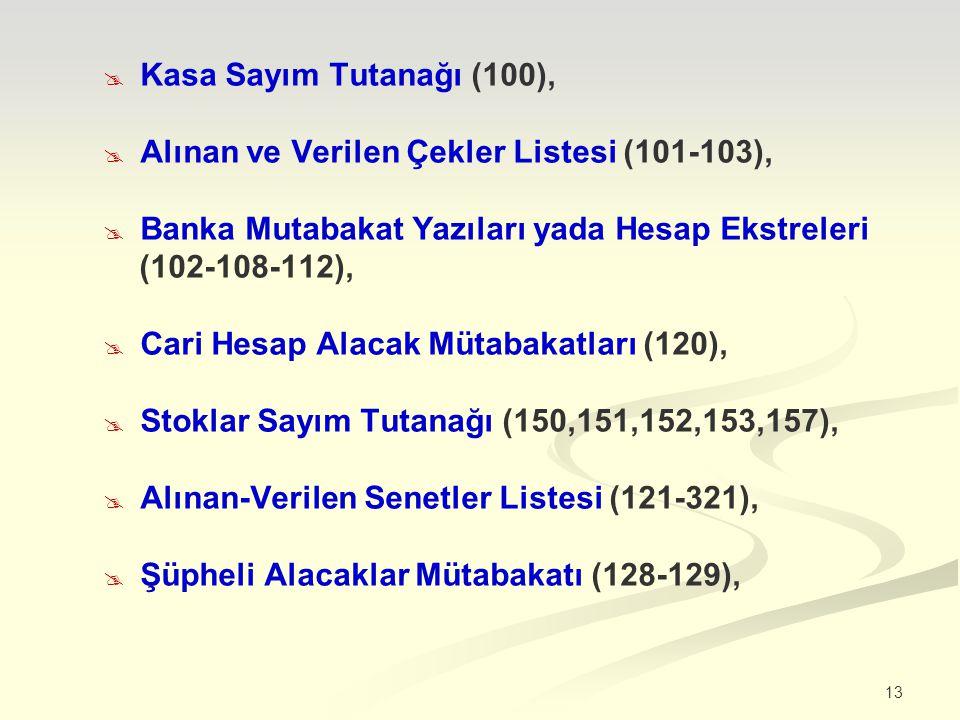 Kasa Sayım Tutanağı (100), Alınan ve Verilen Çekler Listesi (101-103), Banka Mutabakat Yazıları yada Hesap Ekstreleri.