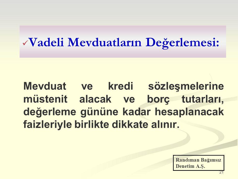 Vadeli Mevduatların Değerlemesi: