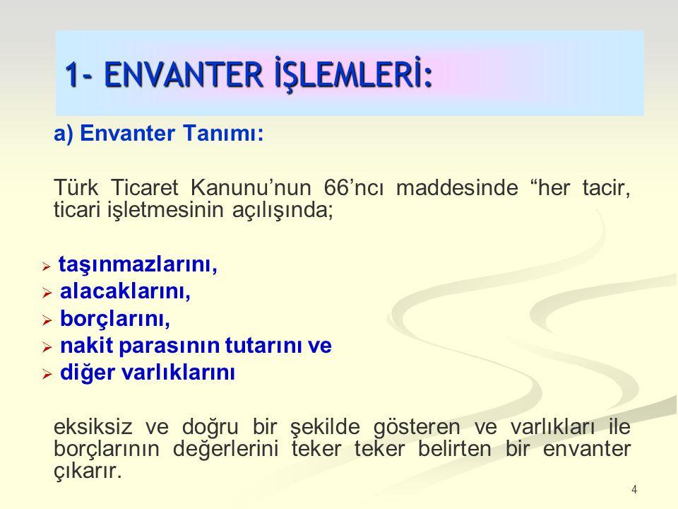 1- ENVANTER İŞLEMLERİ: a) Envanter Tanımı: