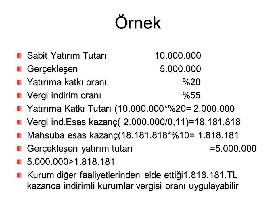 Örnek Sabit Yatırım Tutarı 10.000.000 Gerçekleşen 5.000.000