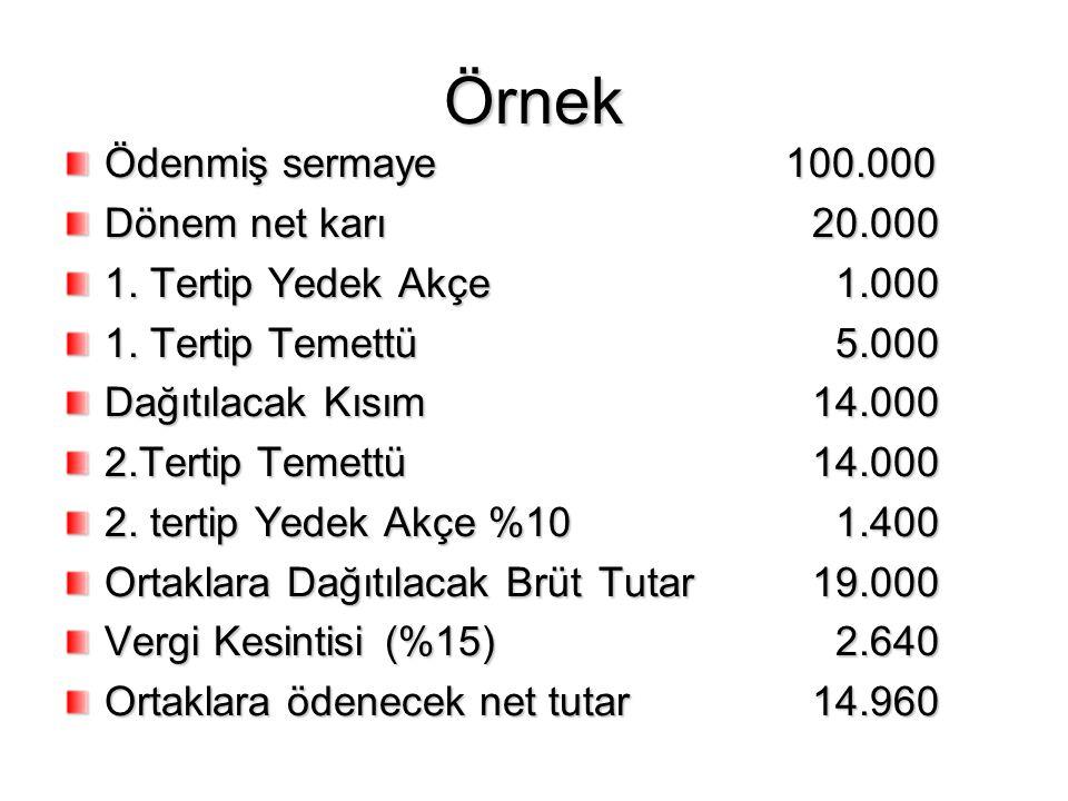 Örnek Ödenmiş sermaye 100.000 Dönem net karı 20.000