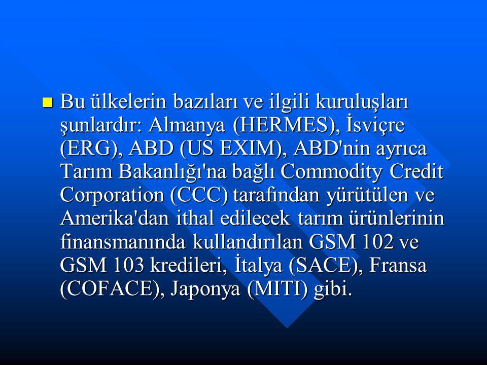 Bu ülkelerin bazıları ve ilgili kuruluşları şunlardır: Almanya (HERMES), İsviçre (ERG), ABD (US EXIM), ABD nin ayrıca Tarım Bakanlığı na bağlı Commodity Credit Corporation (CCC) tarafından yürütülen ve Amerika dan ithal edilecek tarım ürünlerinin finansmanında kullandırılan GSM 102 ve GSM 103 kredileri, İtalya (SACE), Fransa (COFACE), Japonya (MITI) gibi.