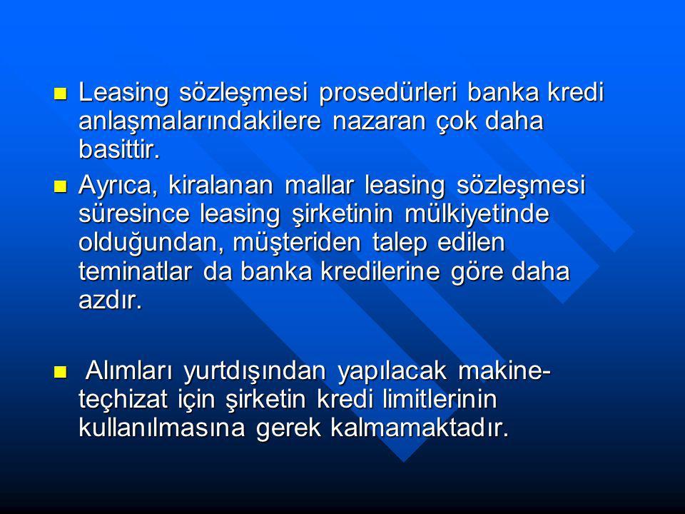 Leasing sözleşmesi prosedürleri banka kredi anlaşmalarındakilere nazaran çok daha basittir.