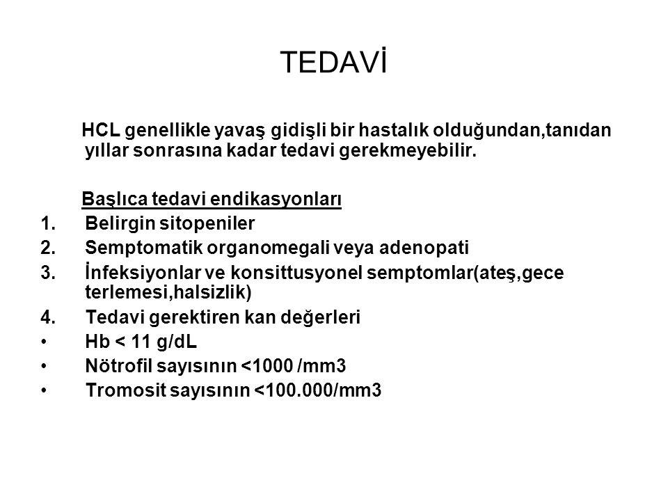 TEDAVİ HCL genellikle yavaş gidişli bir hastalık olduğundan,tanıdan yıllar sonrasına kadar tedavi gerekmeyebilir.