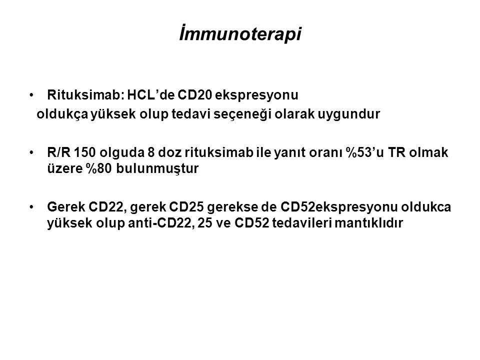 İmmunoterapi Rituksimab: HCL'de CD20 ekspresyonu